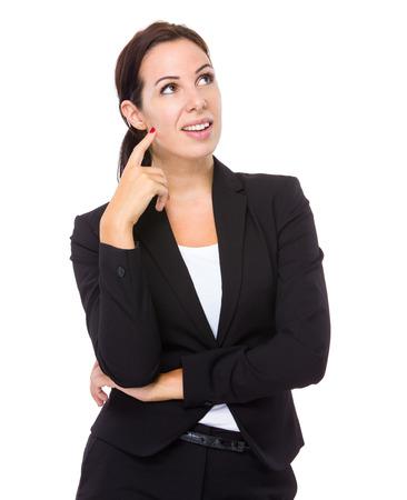 human age: Businesswoman think of idea