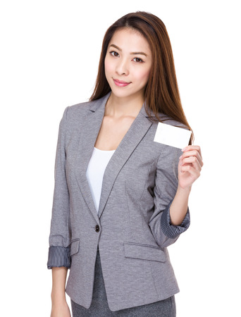 namecard: Businesswoman hold with namecard Stock Photo