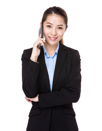 japanese people: Businesswoman chat with mobile phone