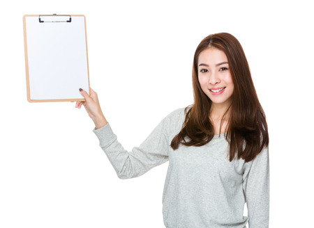 long sleeves: Woman show with clipboard