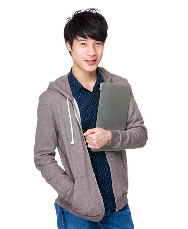 sport wear: Man with laptop