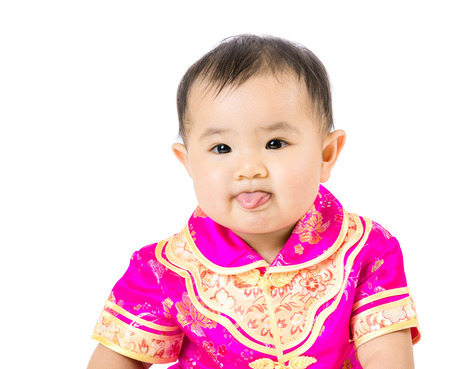chinese baby girl making funny face stock photo picture and royalty