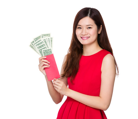 usd: Woman hold lucky money with USD Stock Photo