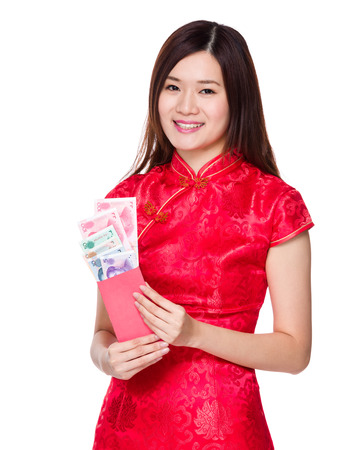 rmb: Chinese woman hold lucky money with RMB