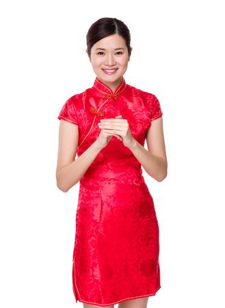 Asian woman hand shake photo