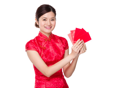 Chinese woman hold with lucky money photo
