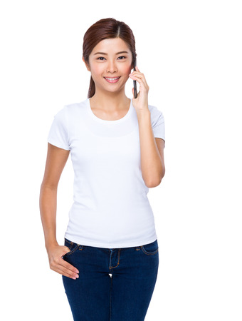 woman on phone: Woman chat on phone