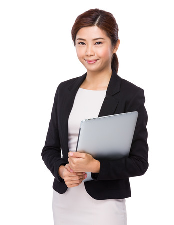 chinese people: Businesswoman with laptop Stock Photo