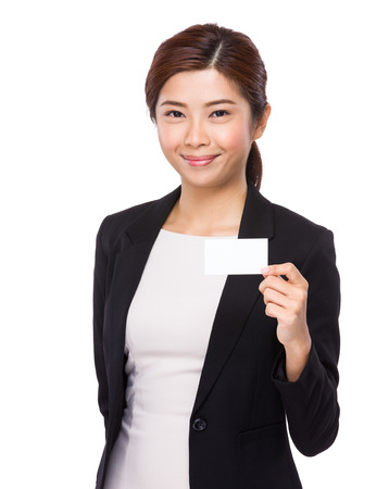 namecard: Businesswoman hold with white namecard