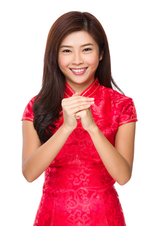Woman with celebrate gesture photo