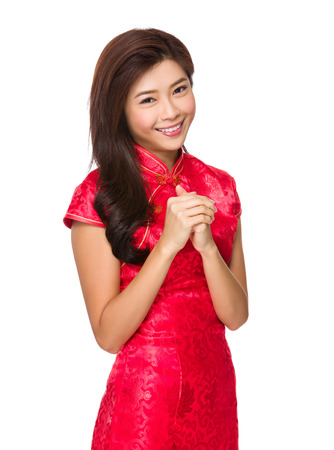 Chinese woman with congratulation gesture photo