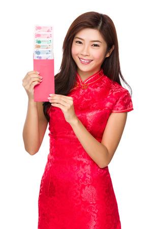 money pocket: Dinero de bolsillo de suspenso de mujer china con RMB Foto de archivo