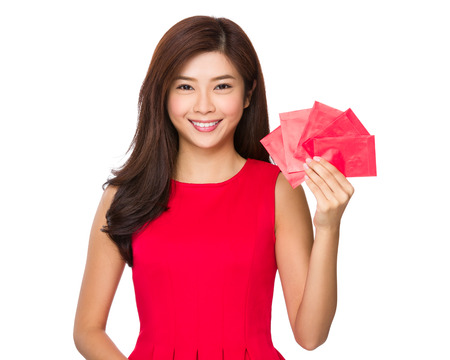 Woman hold with red pocket photo