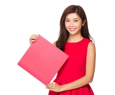 chun: Woman hold with blank Fai chun Stock Photo