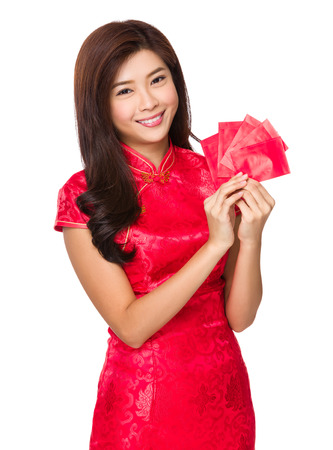 Chinese woman with lucky money for lunar new year photo