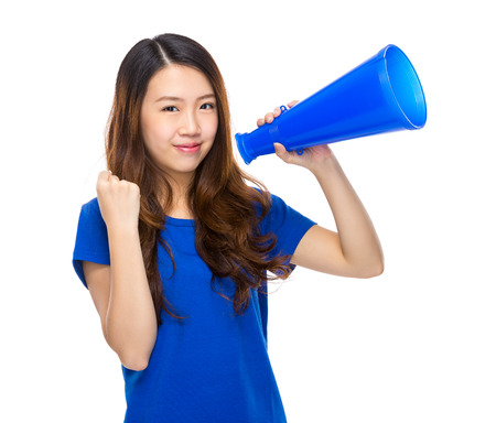 Asian woman speak up with megaphone photo