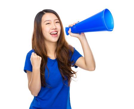 Asian female with loudspeaker photo