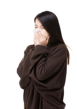 estornudo: Asia mujer estornudo Foto de archivo