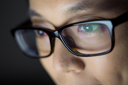 close up: Woman use notebook computer close up