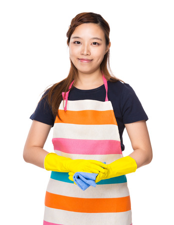 housewife gloves: Housewife wear with plastic gloves and rag