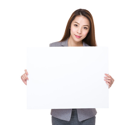 asian youth: Businesswoman hold with white card board