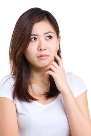 Asian woman think Stock Photo