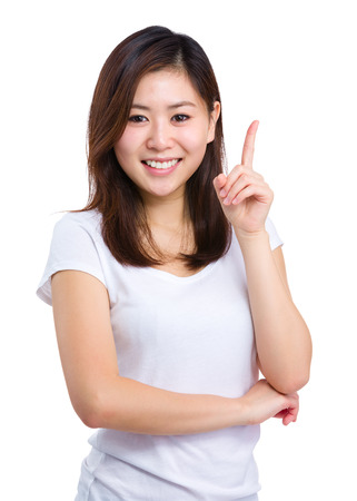 Asian woman point up