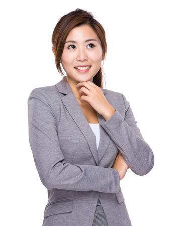 new idea: Businesswoman think of new idea