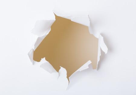 cut through: Hole on white paper set Stock Photo