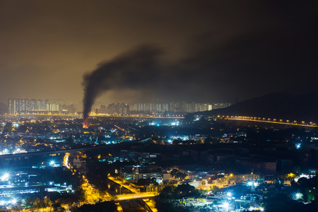 Fire accident in city at night Stock Photo