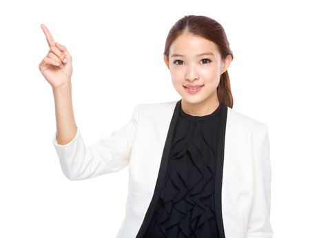 real esate: Businesswoman with finger point up