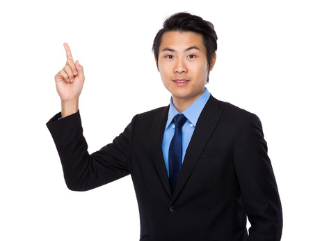 navy blue suit: Businessman with finger point up