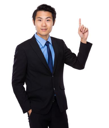Asian businessman finger up photo