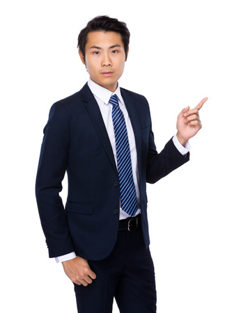 navy blue suit: Businessman with finger up