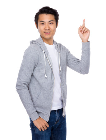 Man with finger point up photo