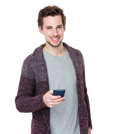 Caucasian man use of mobile phone photo