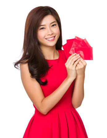 Asian Woman hold with red pocket photo