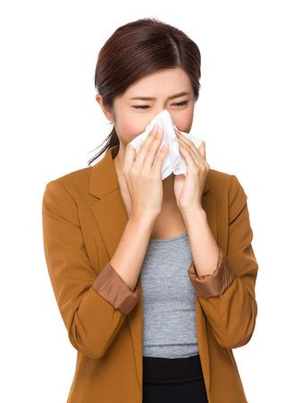estornudo: Estornudo Empresaria Foto de archivo