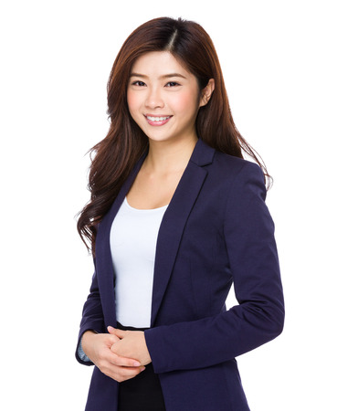 spokesperson: Portrait of young smiling businesswoman isolated on white background