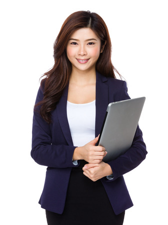 notebook computer: Woman with notebook computer