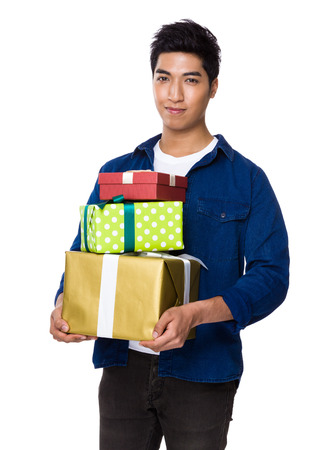 asian man smiling: Man hold with present box Stock Photo