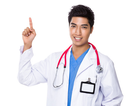 Doctor with finger point up photo