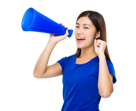 Woman yell with megaphone photo