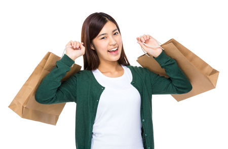 excite: Excite woman hold with shopping bag Stock Photo