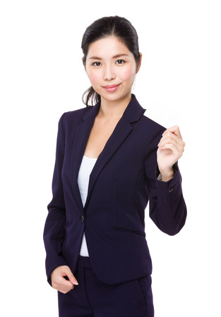 businesswoman card: Businesswoman show with name card Stock Photo