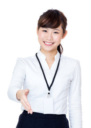 give hand: Asia businesswoman give hand