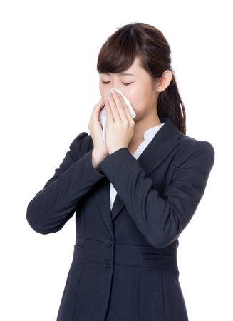 estornudo: Asia empresaria estornudo