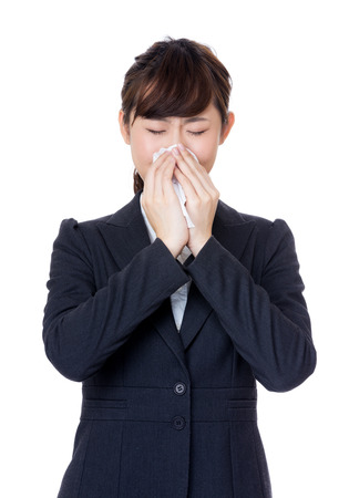 Businesswoman with allergy photo