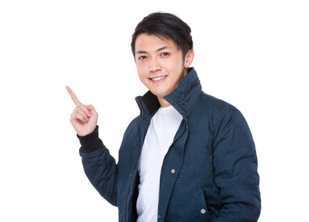Asian man finger up photo