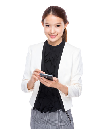 real esate: Businesswoman use cellphone Stock Photo
